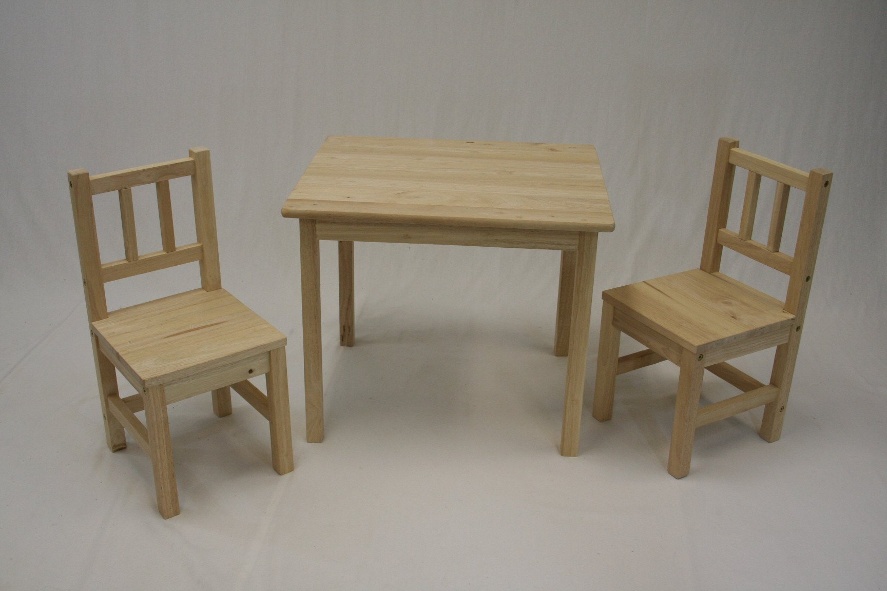 eHemco Kids Table and 2 Chairs Set Solid Hard Wood (Unfinished)