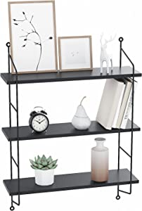 Floating Shelves Wall Mounted, Industrial Metal Frame Wood Wall Storage Shelves for Bedroom, Living Room, Bathroom, Kitchen, Office and More, 3 Tier(Black)