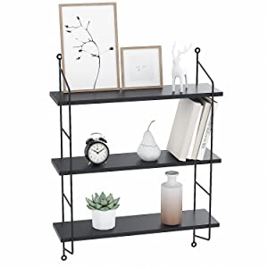 Homevol Industrial Floating Shelves Wall Mounted Metal Frame Urban Chic Display Wall Shelf, 3 Tier (Black)