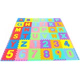 """ProSource Kids Puzzle Alphabet, Numbers, 36 Tiles and Edges Play Mat, 12"""" by 12"""""""