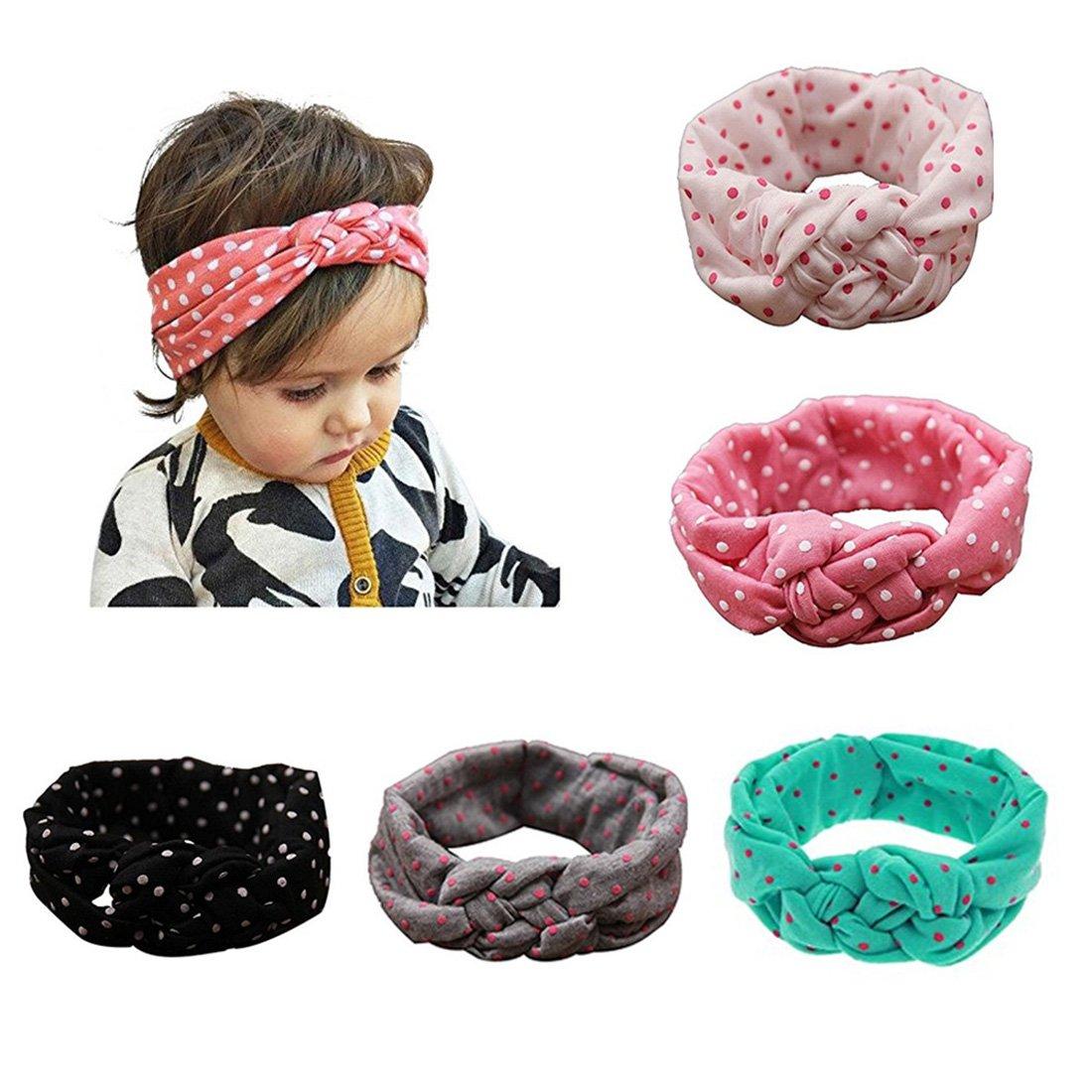 Baby Girl Newest Turban Headband Head Wrap Knotted Hair Band 5 pcs