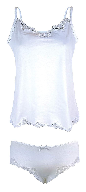 Ladies Cute 100% Cotton White Lace Trim Camisole Cami & Panty Shorts Set / 8 US FIGLEAVES