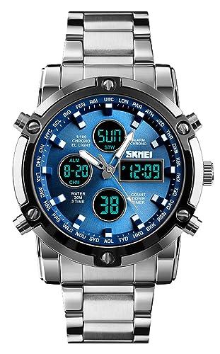 9224452dddc3 Reloj analógico Digital para Hombres - Reloj Deportivo Militar para Hombre  con Alarma Cuenta Regresiva