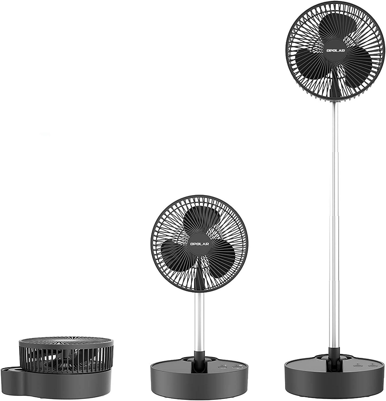 OPOLAR Portable Pedestal Fan, 10000mAh Oscillating Rechargeable Battery Fan, 3 Speeds, Adjustable Height, Quiet Foldable Floor Fan, Small Standing Fan, 8 inch USB Desk Fan for Home Office Camping