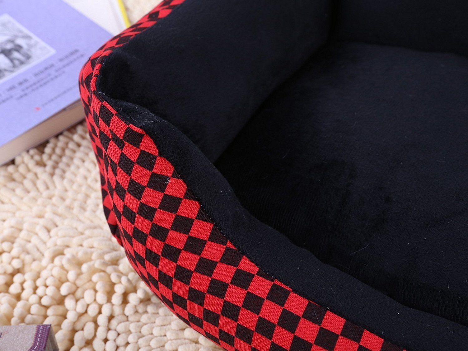Amazon.com : YOIOY Comfortable Winter Pet Cushion Sofa Kennel Waterproof Dog Pet Cat Bed Mat Cushion Washable Ultra-Soft Plush Fabric Soft Cover Black with ...