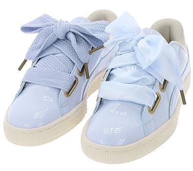 Puma Basket Heart Patent Schuhe Damen Sneaker Turnschuhe Pastell Blau