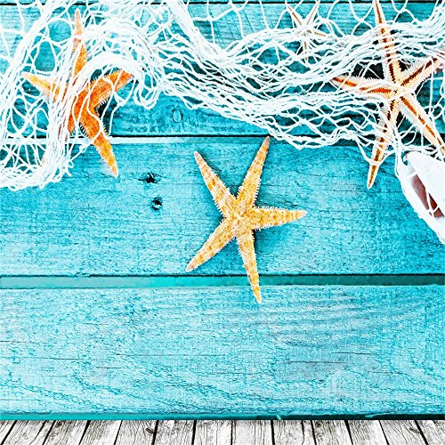 Thin Backdrop Photography Background Fishing Baby Blue Wood Board Wall Floor Fishnet Starfish Theme Scene Background 2.5(W) x2.5(H) m Photo Studio Props ()