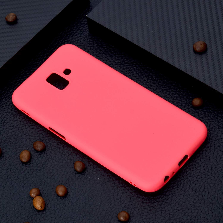 6x Coques,Samsung Galaxy J6 Plus etui TPU Silicone Souple Coque,Ultra Mince Souple Arri/ère Etui Couleurs de Housse Mode Couleur Unie de Bonbons TPU Gel Antichoc Doux Bumper Case Cover