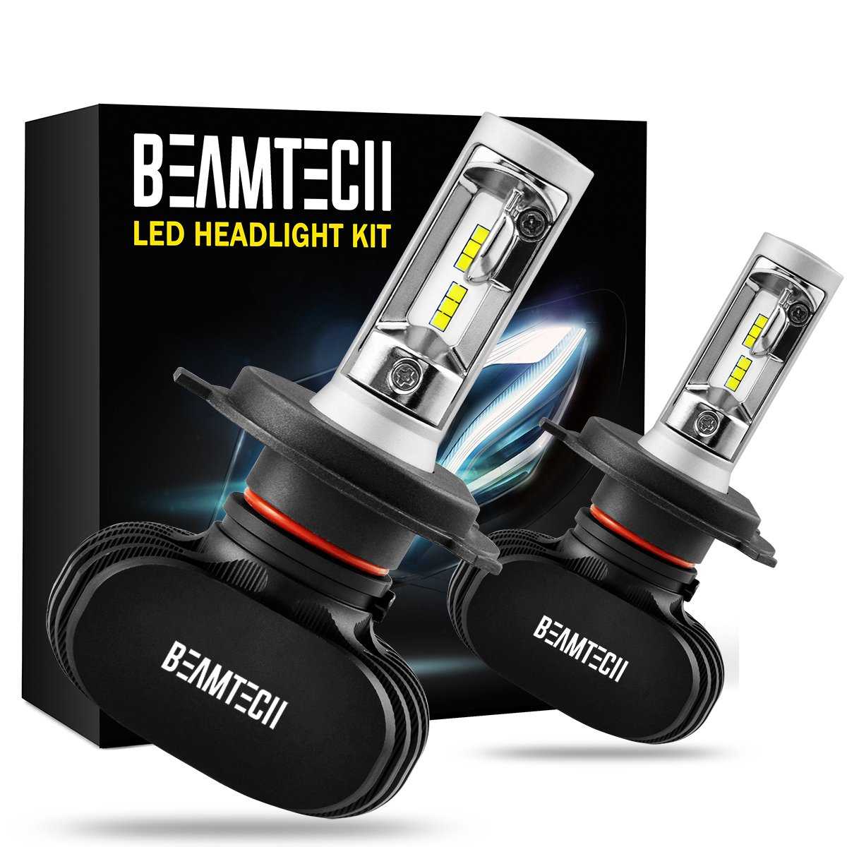 BEAMTECH H4 LED Headlight Bulb, 50W 6500K 8000Lumens Extremely Brigh (9003 Hi/Lo) CSP Chips Conversion Kit by BEAMTECH