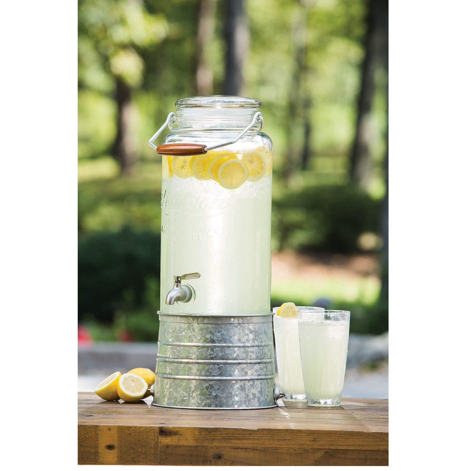 Glass Beverage Dispenser with Galvanized Steel Base 2.5 Gallon