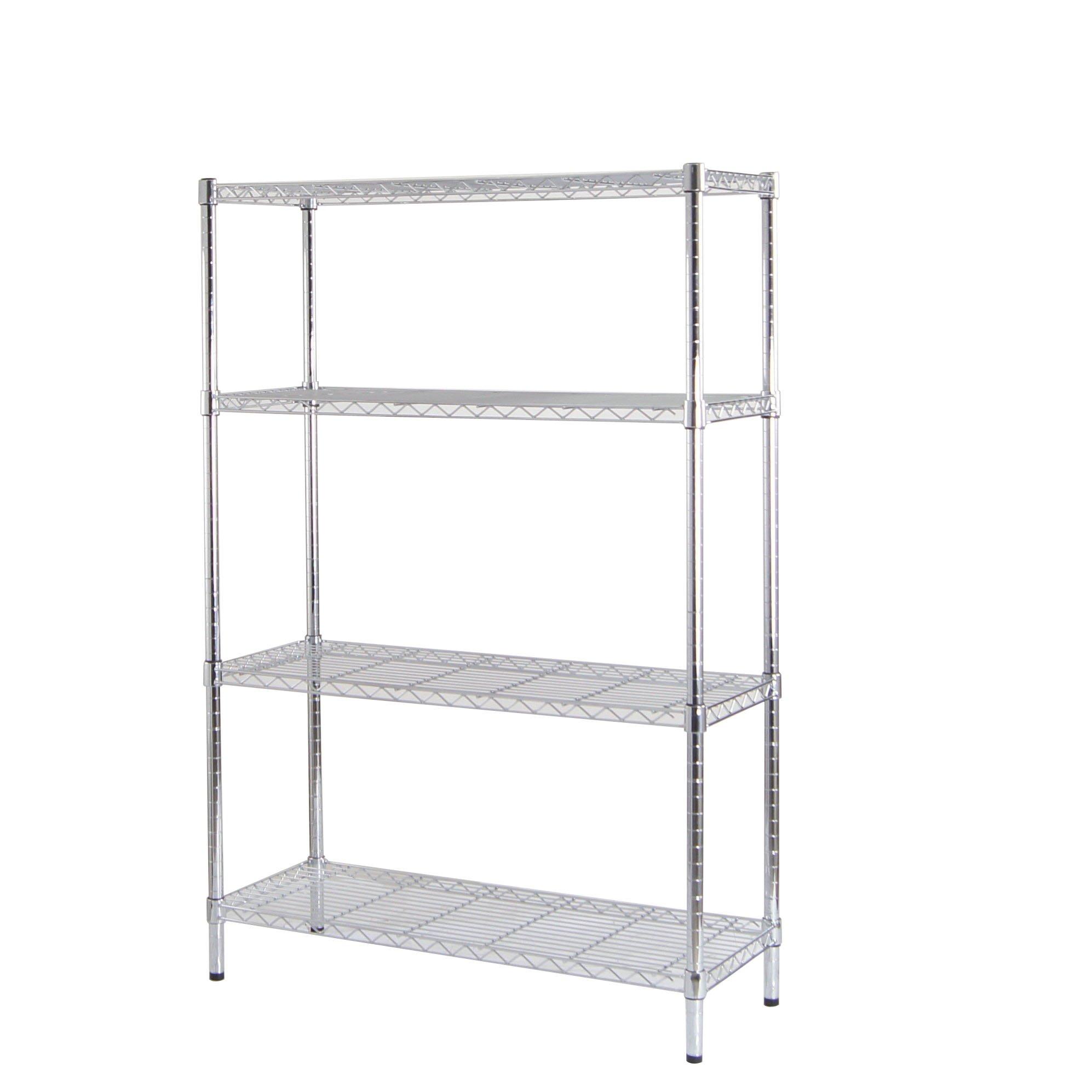 BuyHive Wire Shelving 4-Tier Garage Workshop Storage Rack Heavy Duty Adjustable Organization Shelf