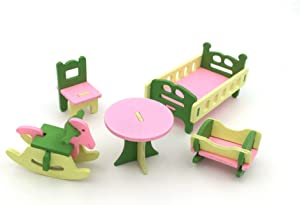 Wooden Colorful Dolls House Furniture Toys Set Miniature Models DIY Assembled Toys (Baby Room)