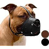 CollarDirect Leather Muzzle for Large Dog Biting Training Barking Secure Soft Pitbull Basket Staffordshire Terrier Black…