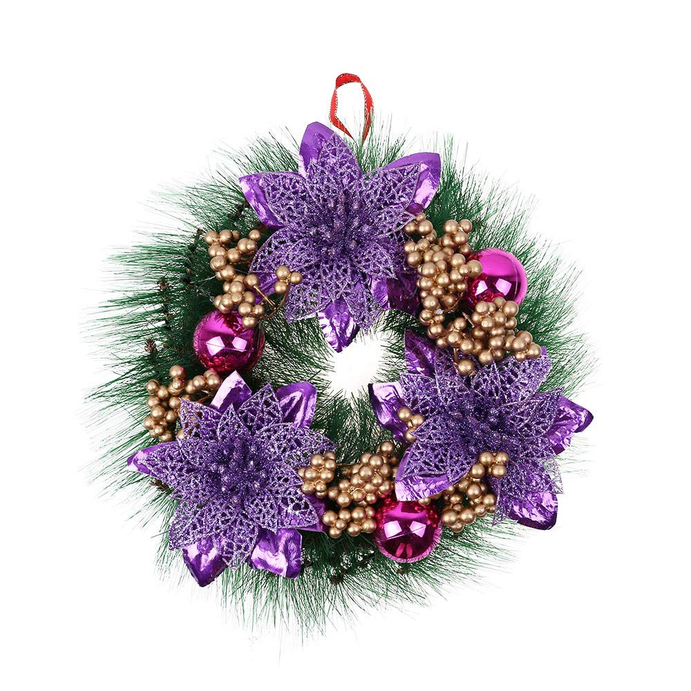 Christmas Wreath for Door/Wall,Wawer Hanging Christmas Wreath Garland Decoration Ornament, Xmas Pine Bell Floral Hanging Ornament for Christmas Decorations,30cm