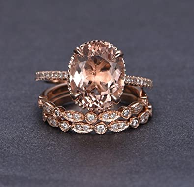 ad7b7367f Amazon.com: Limited Time Sale 2 carat Morganite and Diamond Trio Ring Set  in 10k Rose Gold with One Engagement Ring and 2 Wedding Bands: Jewelry