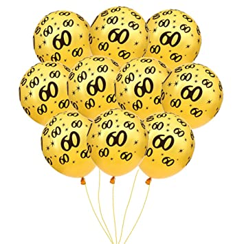 MeySimon 60th Birthday Decorations Balloons Gold Printed 60 Latex Balloon For Year Old Theme Happy