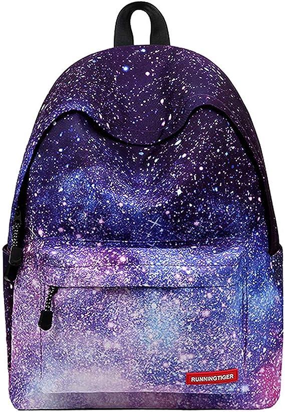 LITTHING Sac /à Dos Scolaire Cartable Backpack Unisexe Galaxie Adolescent pour Coll/ège Loisir Voyage Pique-Nique Bleu