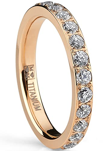 Ultimate Metals Co. ® 4MM Rose Gold Plated Princess Cut Women's Eternity Titanium Ring Wedding Band with CZ DUnnlc2w