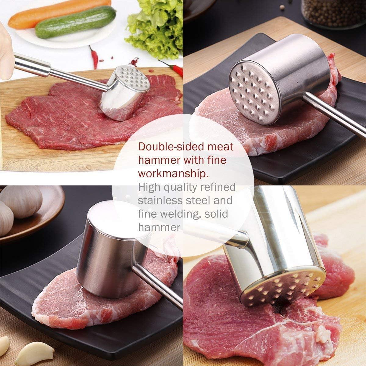 acciaio inossidabile 304 Homemaxs Martello per batticarne con maglio a doppia faccia per lavastoviglie