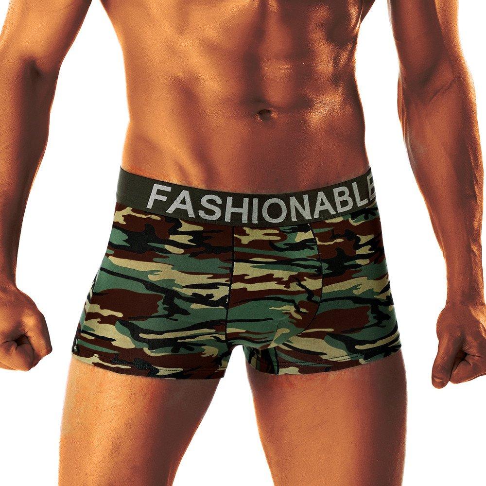 WOCACHI Men Underwear Boxer 2019 Fashion Beach Camouflage Breathe Underwear Briefs