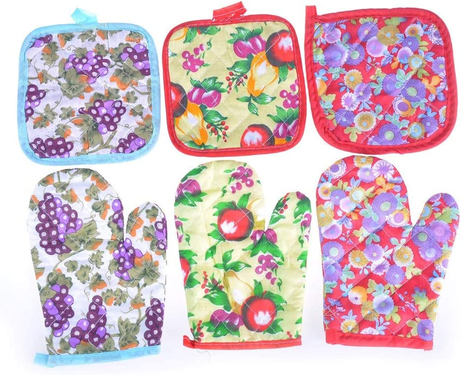 Oven Gloves - Temperature Oven Glove Cute Cooking Microwave Mitt Insulated Non Slip Thickening 1set - Heat Temptations Mitts Green Water Double Sleeve Grey Women Duty Iron Fingers Cloth M