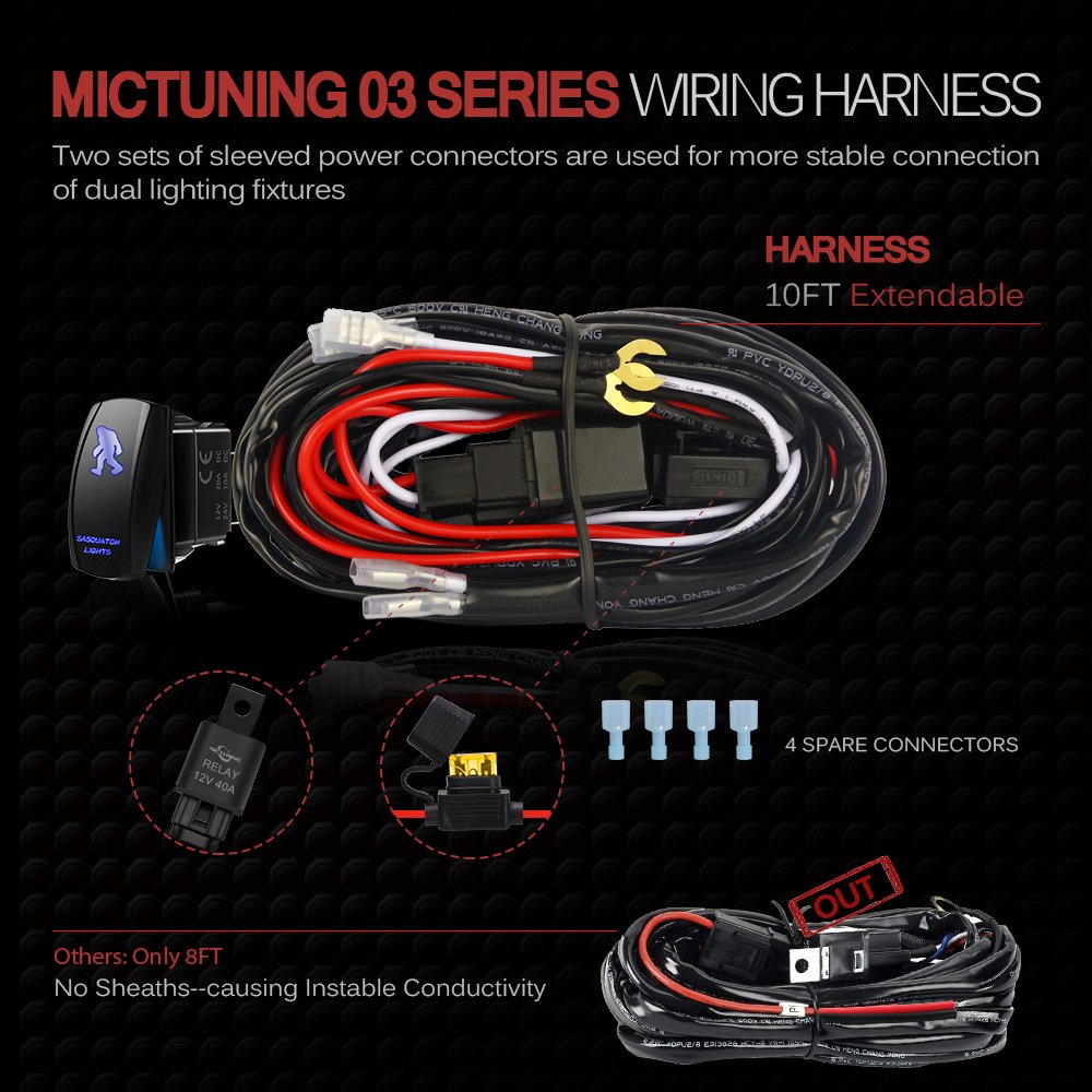 Mictuning Led Light Bar Wiring Harness Fuse 40amp Relay One Of Several Harnesses On Off Sasqiatch Rocker Switch Blue2 Lead Automotive