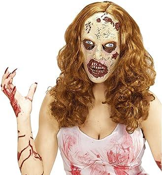 Amakando Antifaz látex Zombie Máscara Muerta Viviente con Peluca ...