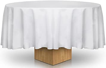 Amazoncom 90Inch White Round Tablecloth 100 Percent Polyester