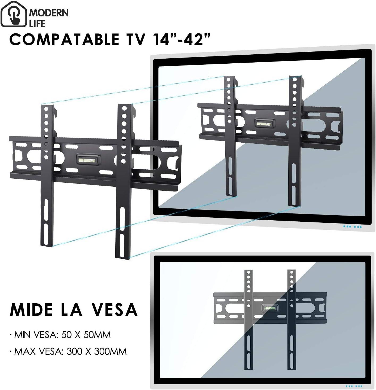 MODERN LIFE Soporte de Pared para TV 14-42 Pulgadas(35-107cm), Fijo Ultra Delgado, Máx Vesa 300x300, Carga 15KG, para Televisores de Pantalla Plana LED LCD Plasma 4K 3D, con Nivel de Burbujas: Amazon.es: