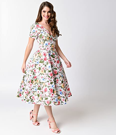 6a4e8d672d9b Unique Vintage Collectif 1950s White Artistic Floral Maria Short Sleeve Swing  Dress at Amazon Women's Clothing store: