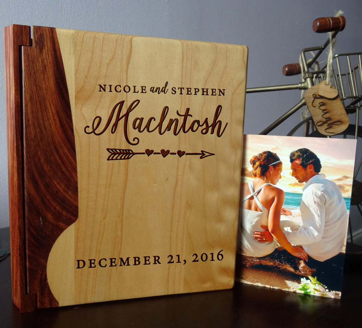 LoveToCreateStamps Personalized Wood Cover Photo Album, Custom Engraved Wedding Album, Style 101 (Maple & Walnut Cover)