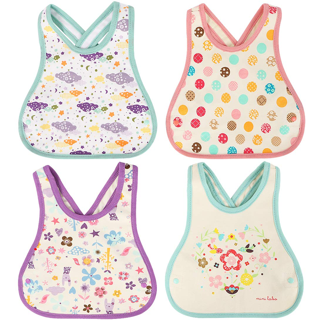 KF Baby 4pc Soft Waterproof Cotton Absorbent Wrap Snap Lock Drooler Bibs Set kilofly