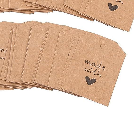 Oblique-Unique/® Geschenkanh/änger 20Stk w/ählbar braun made with love Hochzeitsdeko Geschenkdeko Anh/änger mit Schnur und Motiv