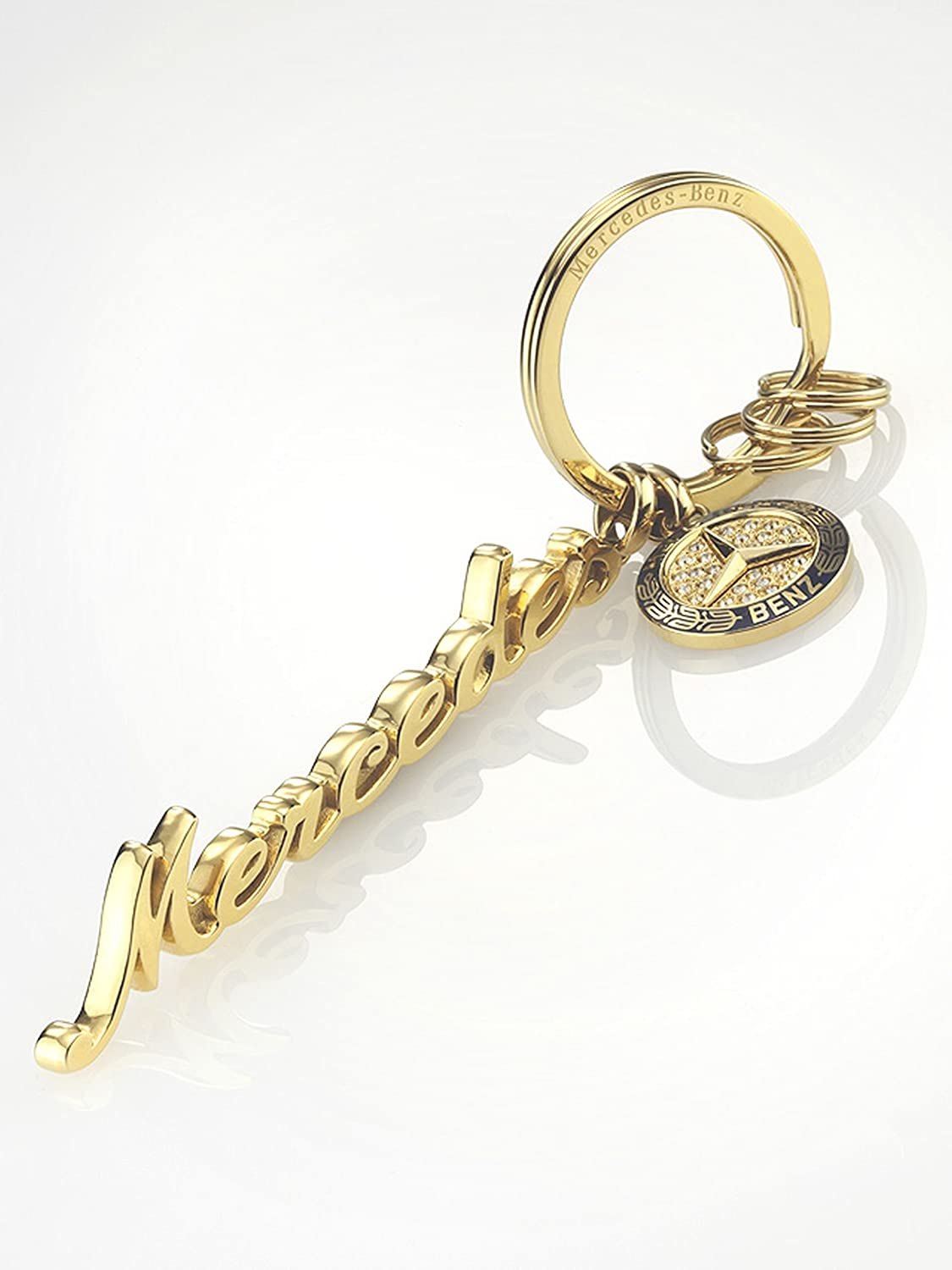 Mercedes Benz with Swarovski crystals yellow gold coloured blue Classi Key ring stainless steelrcedes Benz Women