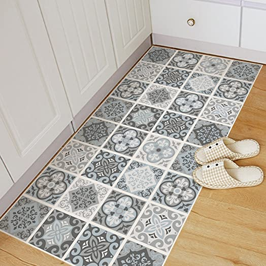 Exoticbuy Grey Moroccan Tile Floor Stickers Waterproof Anti Slip Home Decal  60*120cm