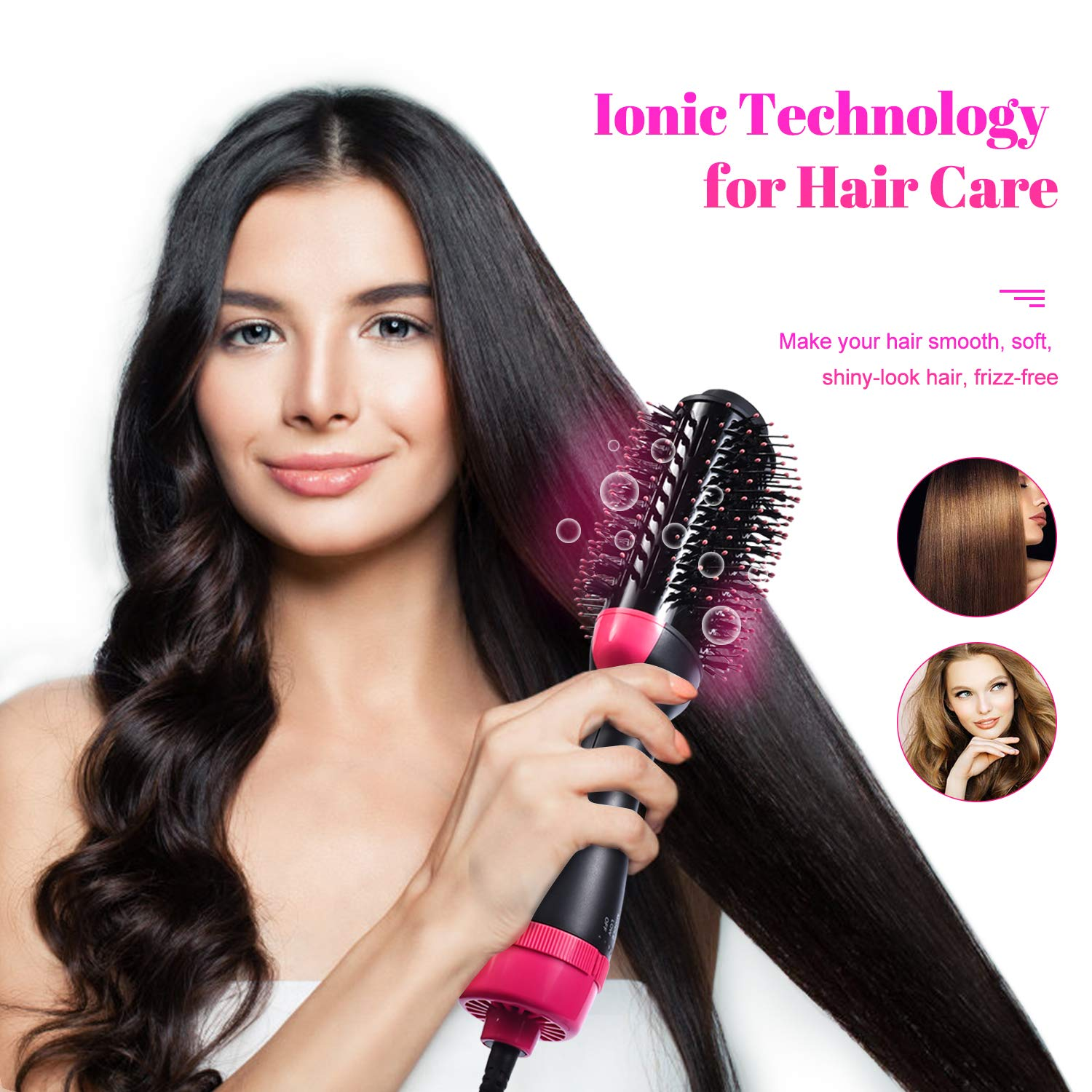Hair Dryer Brush, WLWQ One Step Hair Dryer & Volumizer 3-in-1 Salon Negative Ion Hot Air Brush Hair Straightening Brush and Curly Hair Comb Reduce Frizz and Static