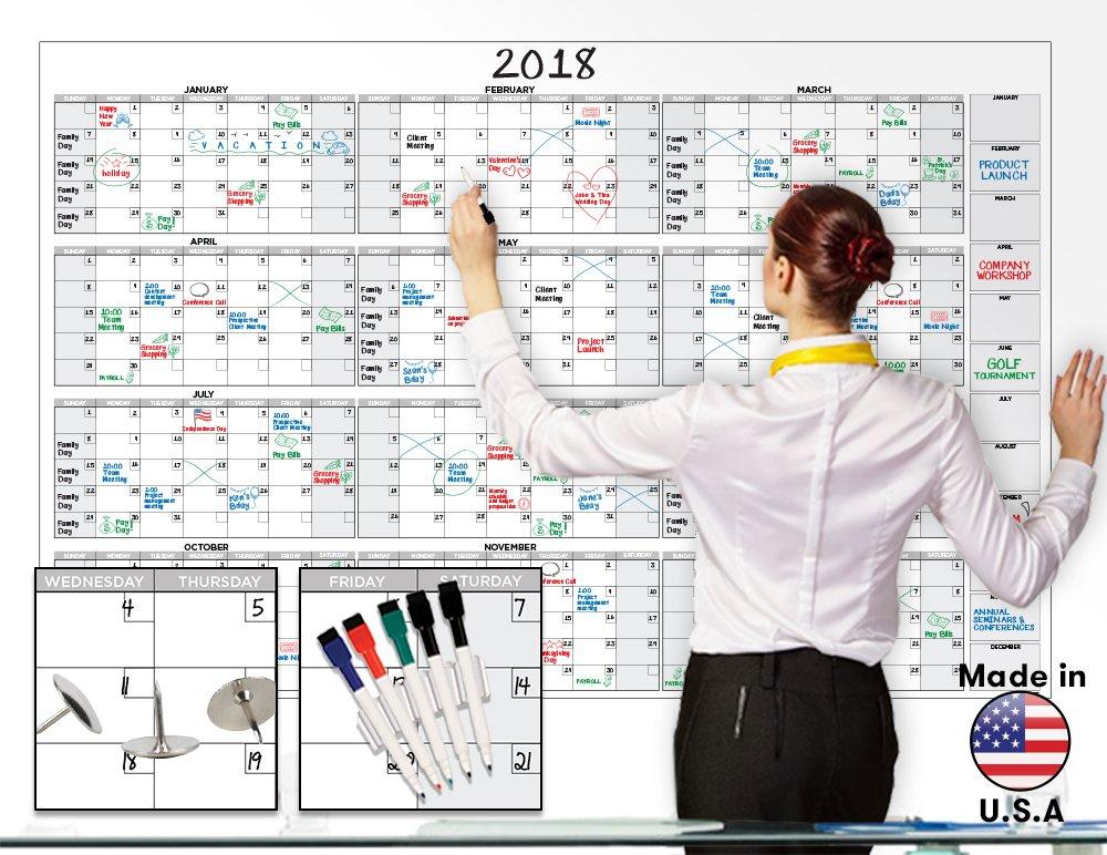 58 x 38 large dry erase wall calendar blank 2018 2019 12 month