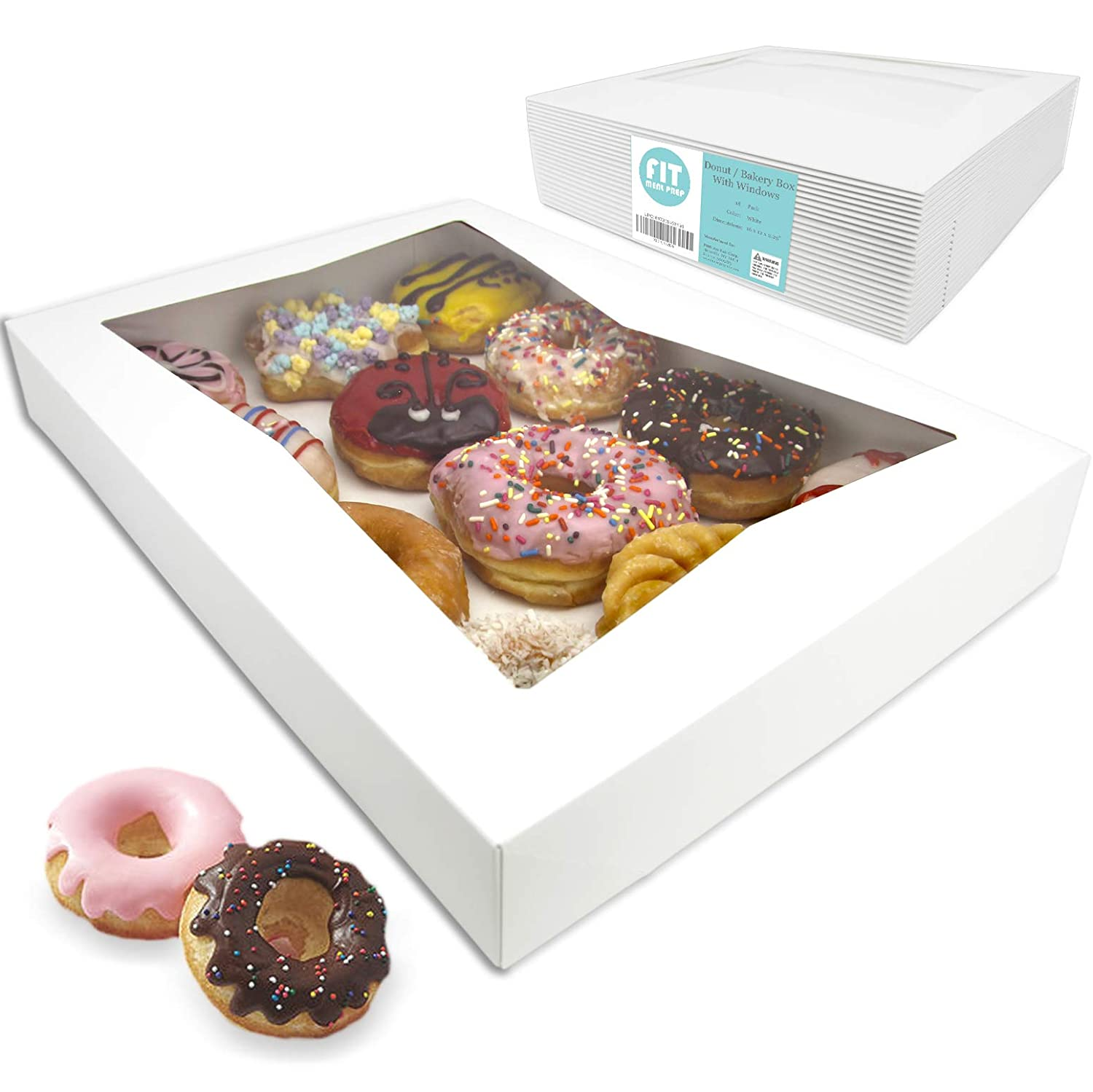 "[18 Pack] 16x12x2.25"" White Bakery Box with Window - Holds 12 Donuts, Auto-Popup Cardboard Gift Packaging and Baking Containers, Cookies, Brownies, Pastry and Bread Boxes"