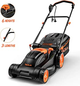 """TACKLIFE Lawn Mower, 14 Inch, Electric Lawn Mower, 6 Cutting Heights (0.98""""-2.95""""), Single Lever Adjustable, Tool-Free Installation"""