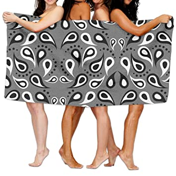 Toallas de baño, color negro, blanco y gris figura Super suave ultra absorbente toalla de baño para hombres mujeres niños, cuarto de baño accesorios: ...