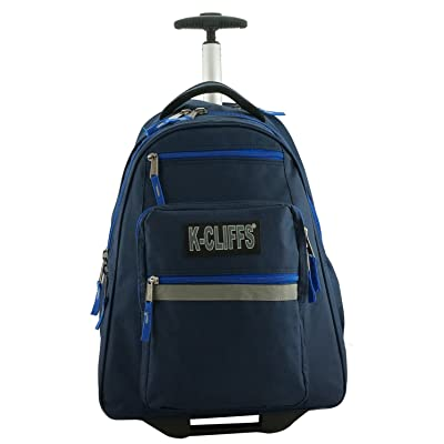 K-Cliffs Heavy Duty Rolling Backpack School Backpacks with Wheels Deluxe Trolley Book Bag Wheeled Daypack Workbag Multiple Pockets Bookbag with Safety Reflective Stripe Navy Blue | Kids' Backpacks