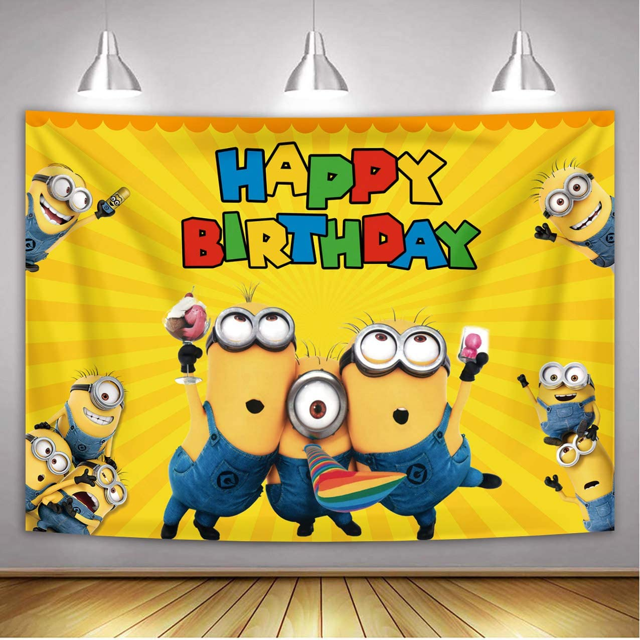 Dost Polyester Cartoon Minions Photography Backdrop Minions Theme Baby Shower Birthday Party Cake Table Supplies (7x5FT)