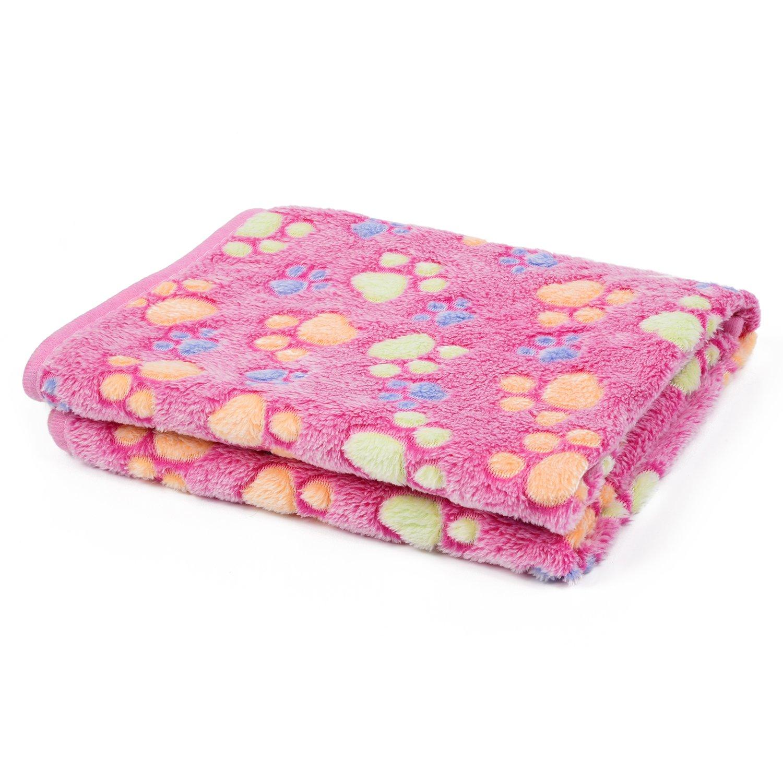 kiwitatá Super Warm Soft Pet Dog Blanket for Couch, Car, Trunk, Cage, Kennel, Dog House,Puppy Cat Coral Velvet Dog Paw Print Blanket Beds Cover Mat
