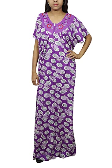 Indiatrendzs Women Hosiery Nighty Long Printed Purple Nightgown Free Size   Amazon.in  Clothing   Accessories ff4e09f28