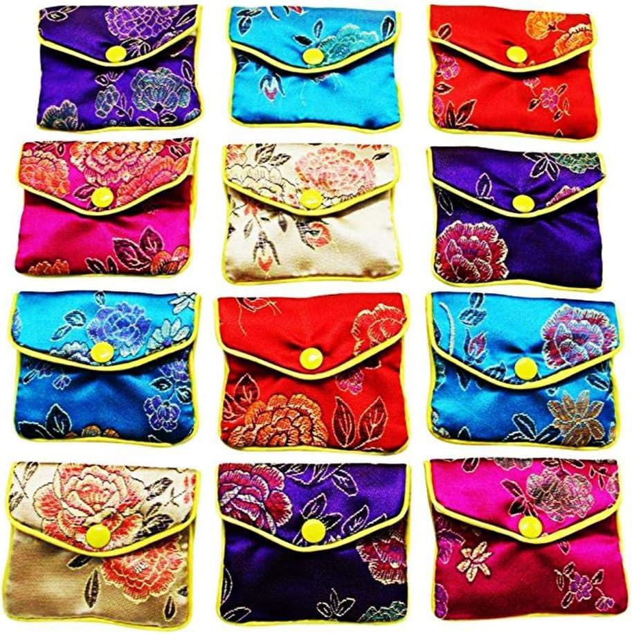 Earlyad Bolsas de Regalo de 12 Piezas Bolso de Seda Bolsas de Regalo para el Banquete de Boda Bolsas de Almacenamiento de Rollos de joyería pequeña
