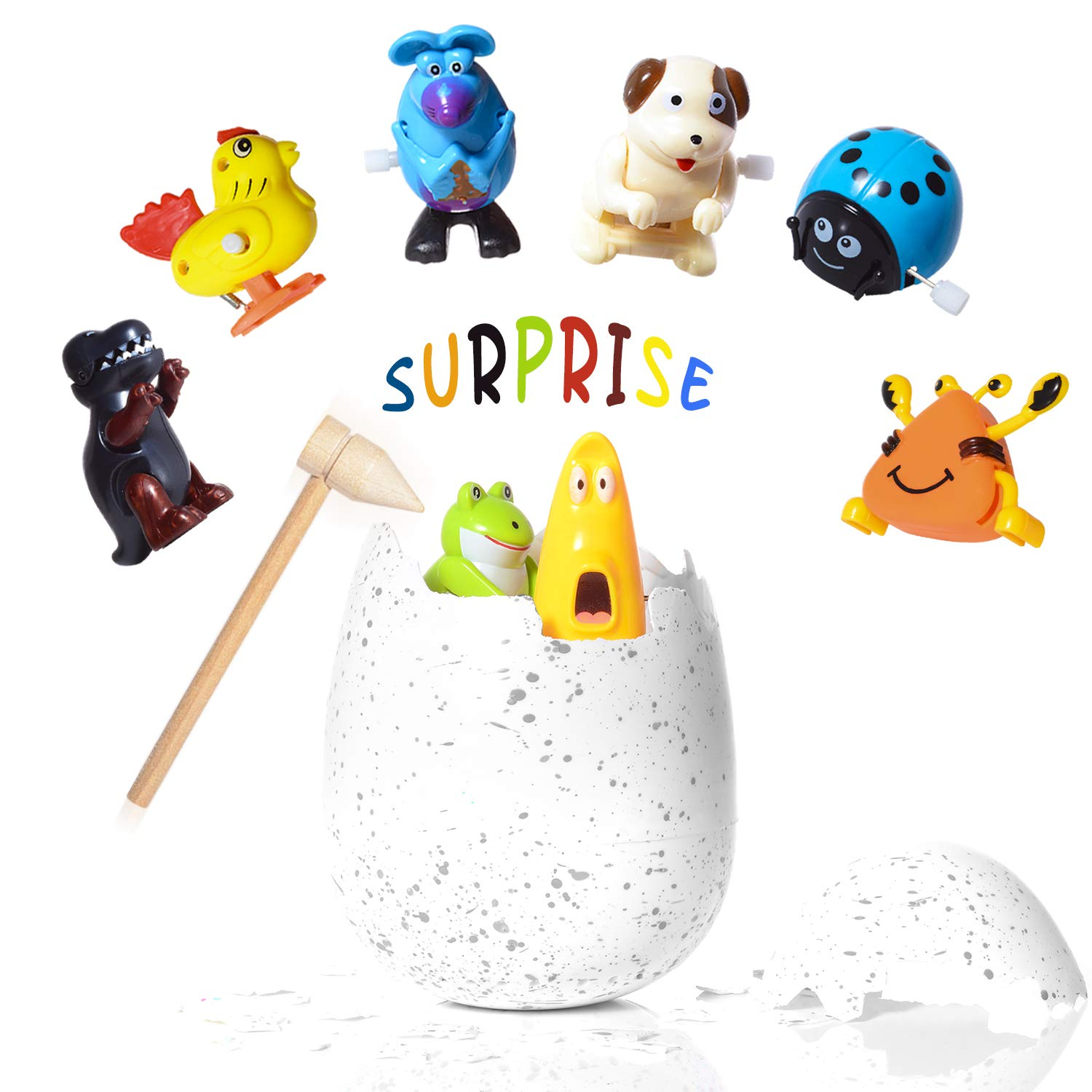 WishaLife Hatchimal Surprise Hatching Egg - Set of 8 Wind Up Animals Toys for Kids Birthday Gifts Party Favor (Includes Mouse, Dog, Dinosaur, Chick, Frog, Ladybug, Crab, Larva, Wooden Hammer)