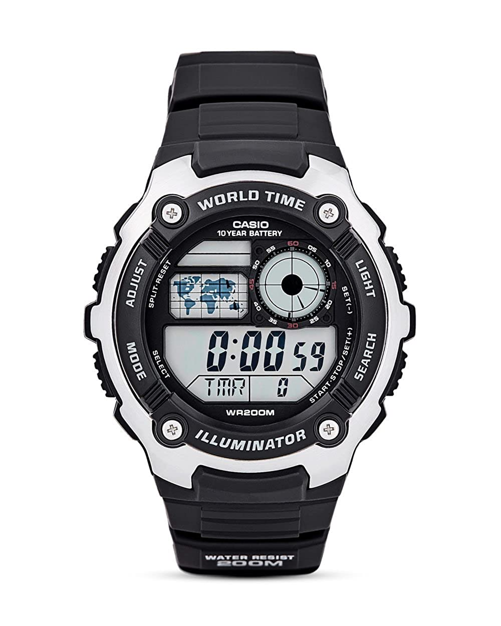 Amazon.com: CASIO AE-2100W-1AWorld time, water resistance LED light: Watches