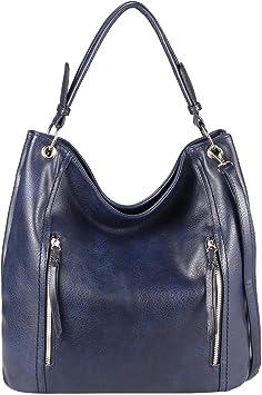 Damen Tasche Shopper Din A4 Schultertasche Handtasche Umhängetasche Henkeltasche Tote Bag Beuteltasche Leder Optik (Dunkelblau)