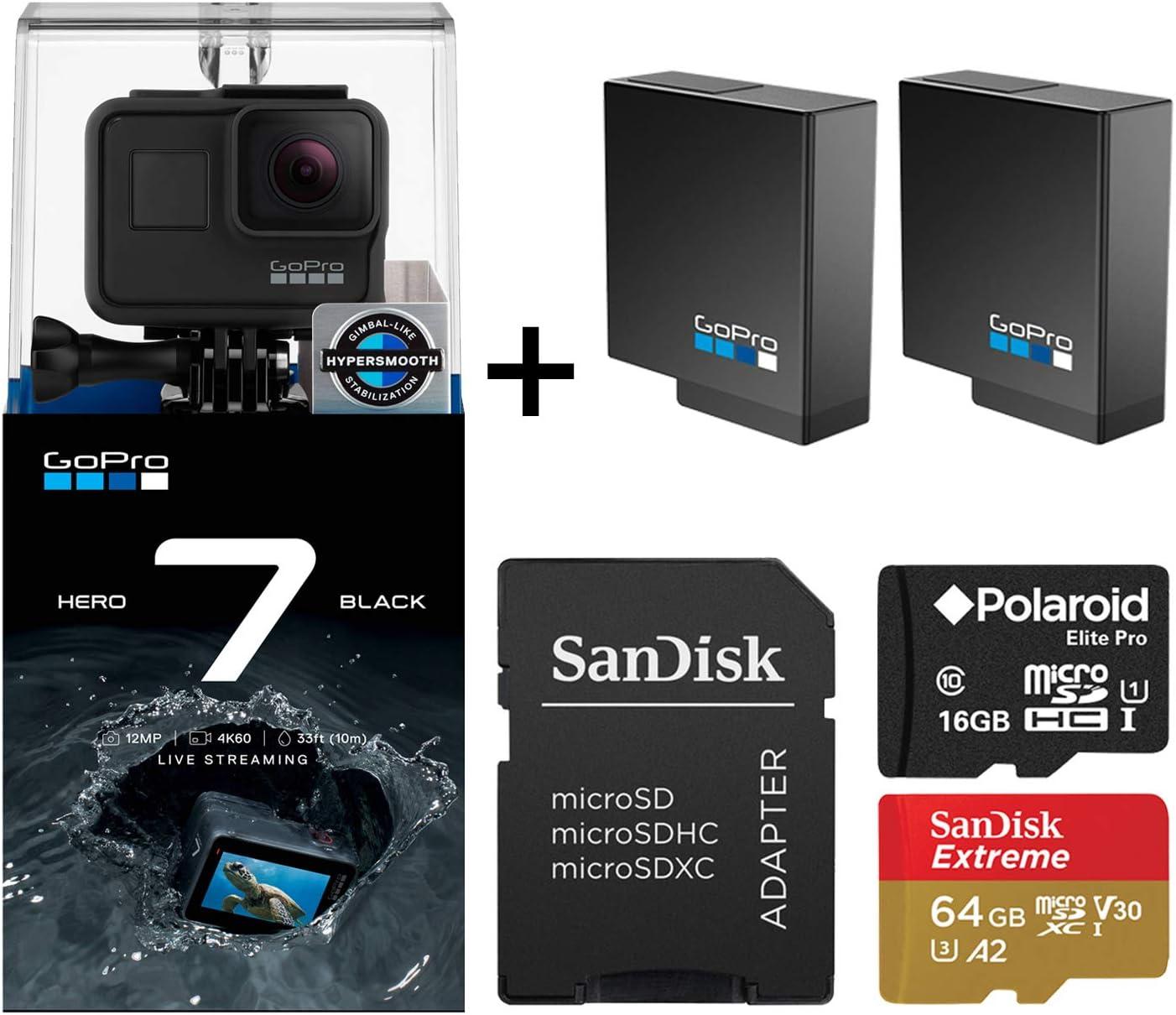 GoPro Hero 7 Black Edition with Two Extra GoPro USA Batteries + Sandisk Extreme 64GB MicroSD + Free Polaroid 16GB MicroSD (80GB Total)