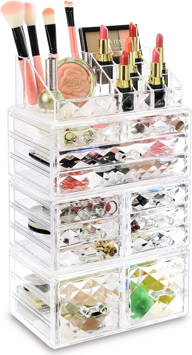 Amazon Com Ikee Design Diamond Pattern Home Acrylic Jewelry And Cosmetic Storage Boxes Makeup Organizer Set 4 Piece Easily Organize Your Cosmetics Jewelry And Hair Accessories Home Kitchen